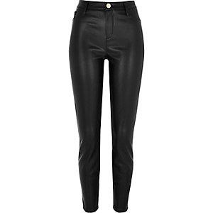 Black leather look super skinny pants