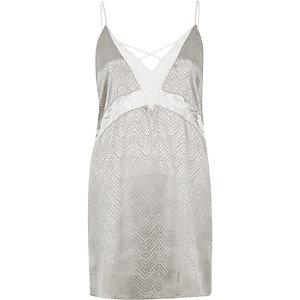 Grey lace slip