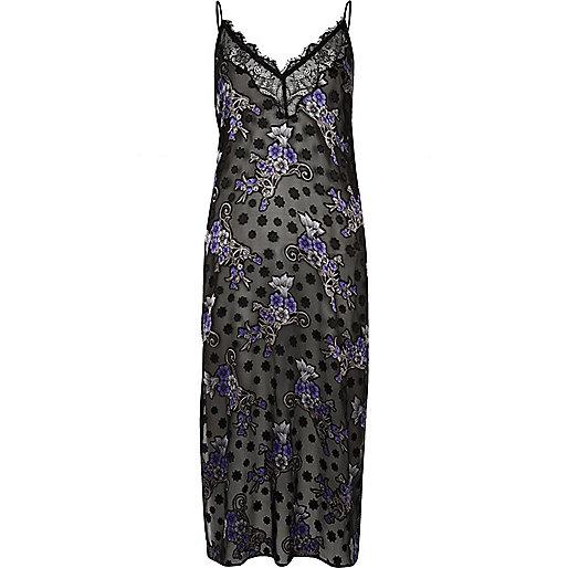 Black sheer jacquard slip dress