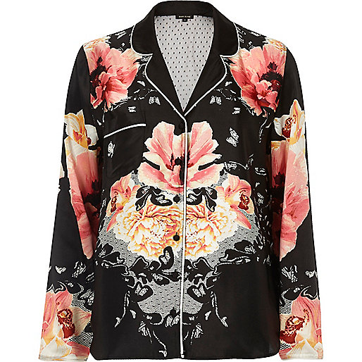 Black floral print pyjama shirt