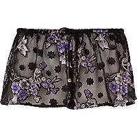 Schwarze, transparente Pyjama-Shorts
