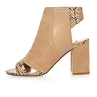 Nude print panel shoe boots