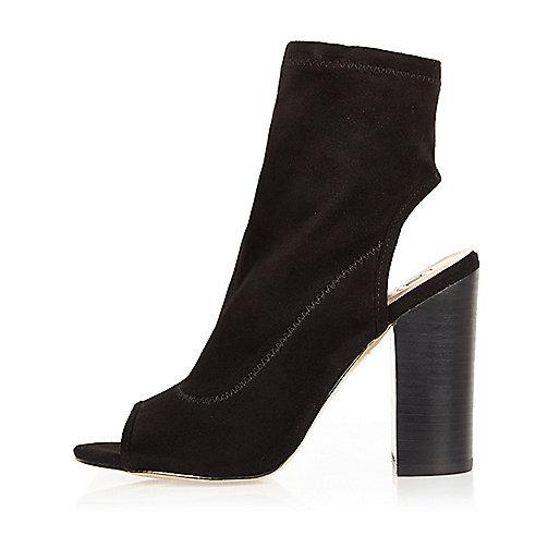 Black peep toe block heel shoe boots