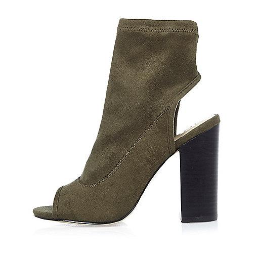 Khaki peep toe block heel shoe boots