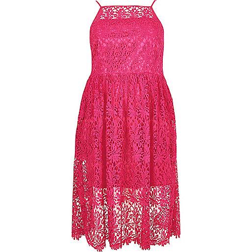 RI Plus pink lace midi dress