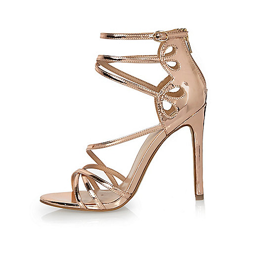Rose Gold Wide Fit Low Heel Shoes