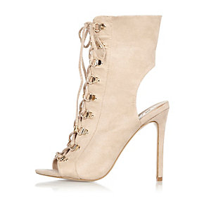 Nude lace-up shoe boots