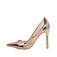Rose gold patent pumps