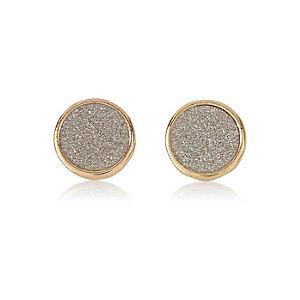 Gold tone glitter stud earrings