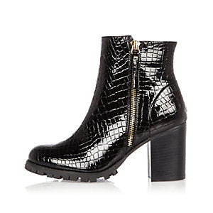 Black patent chunky heel ankle boots