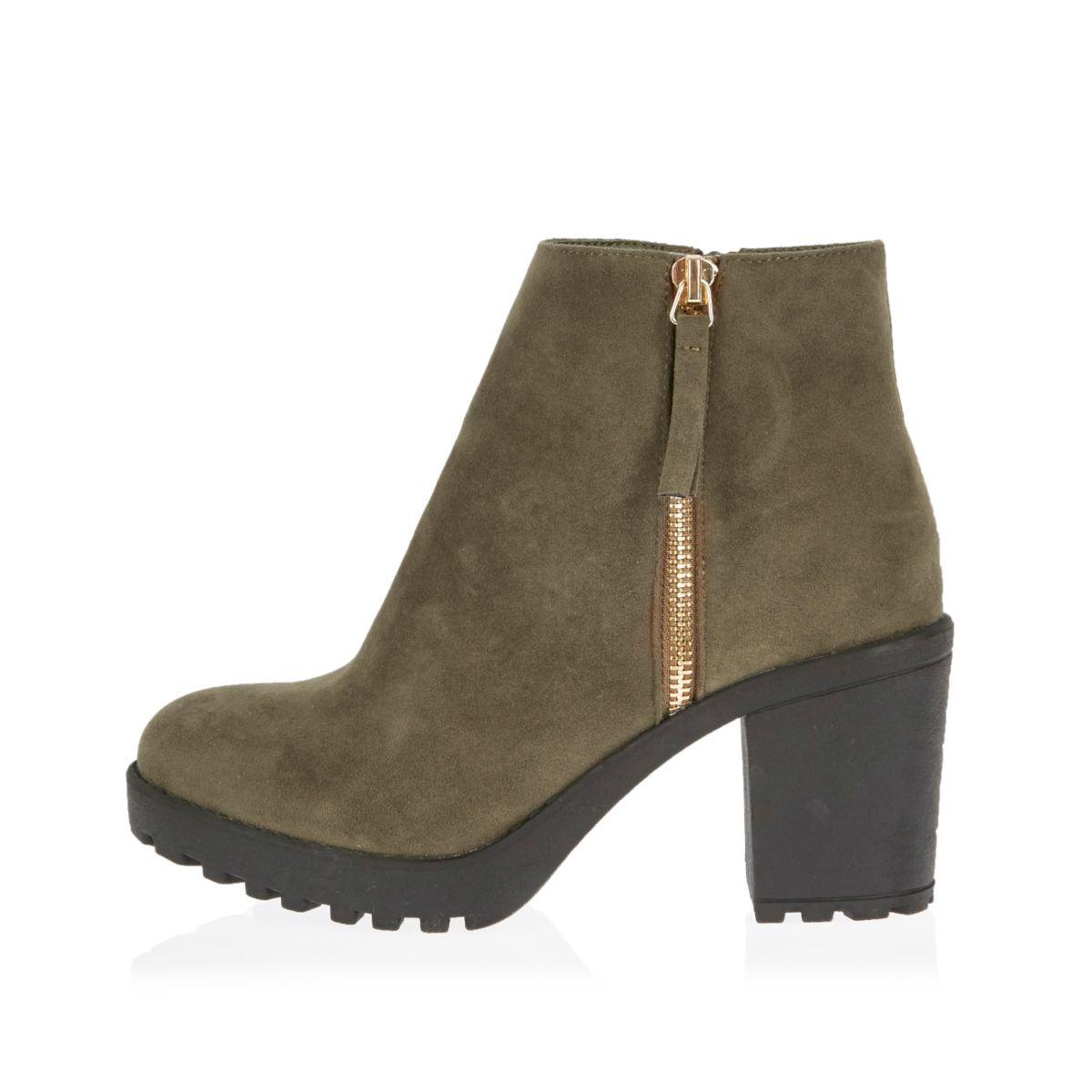 bottines kaki talons carr s chaussures bottes promos femme. Black Bedroom Furniture Sets. Home Design Ideas