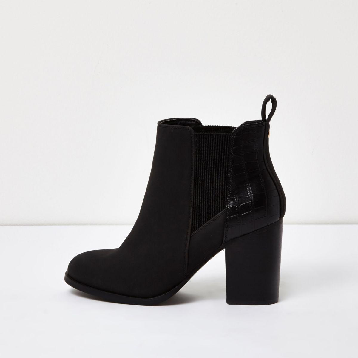 Zwarte chelsea boots met lakleren paneel en hak