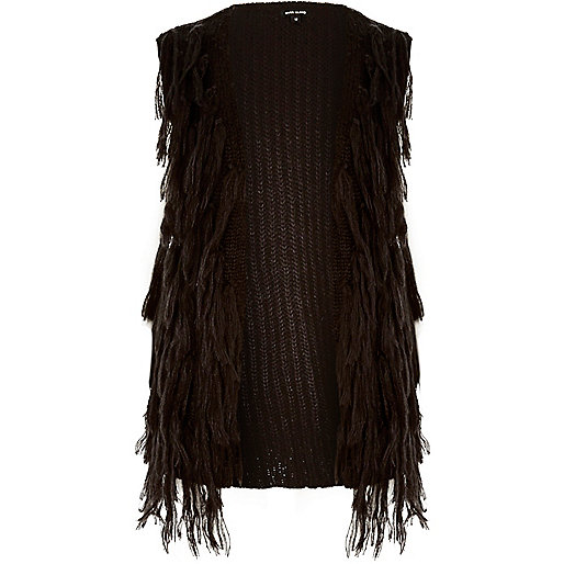 Black knit tassel vest