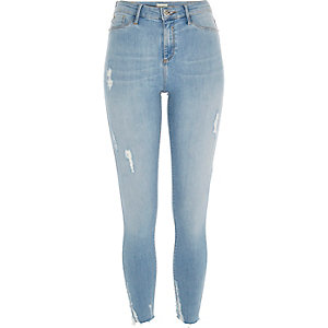 Light blue wash distressed Molly jeggings