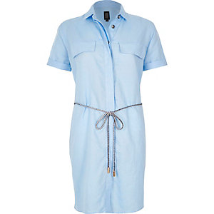 Light blue linen-rich shirt dress