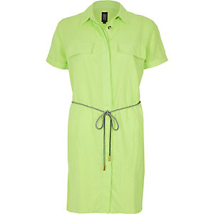 Lime linen-rich shirt dress