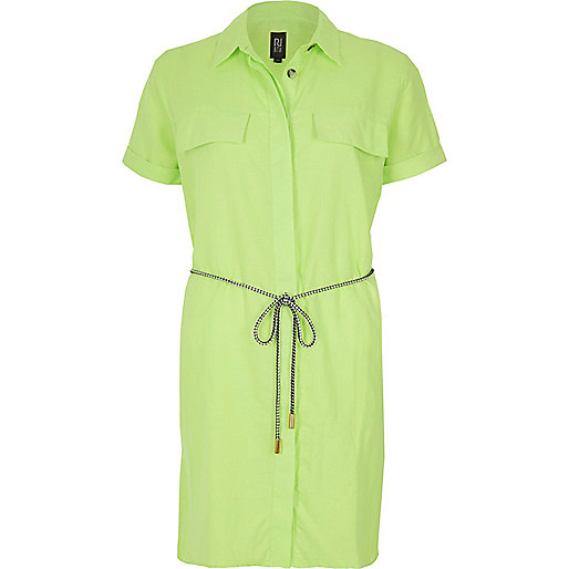 Lime linen-rich shirt dress