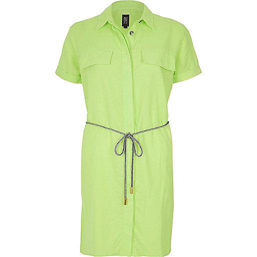 Robe chemise vert citron en lin