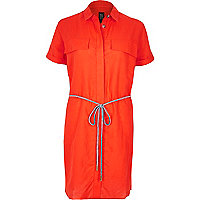 Orange linen-rich shirt dress