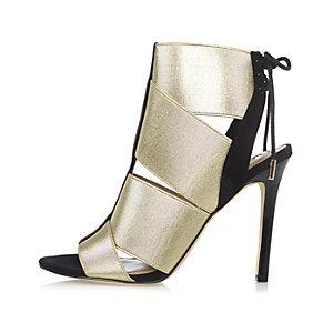 Gold elastic strap shoe boots