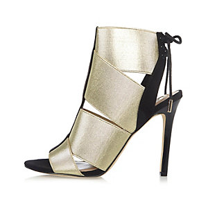 Gold elastic strap shoe boots