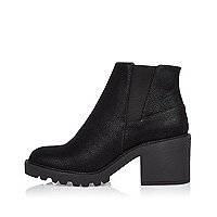 Black textured chunky ankle boots