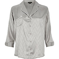 Grey snake jacquard shirt