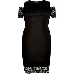 RI Plus black lace panel bardot dress