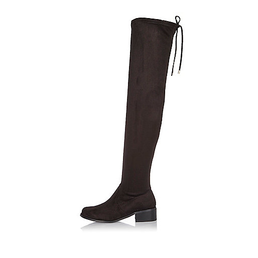 Black over the knee flat boots