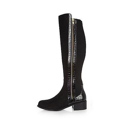 Black croc panel knee high boots