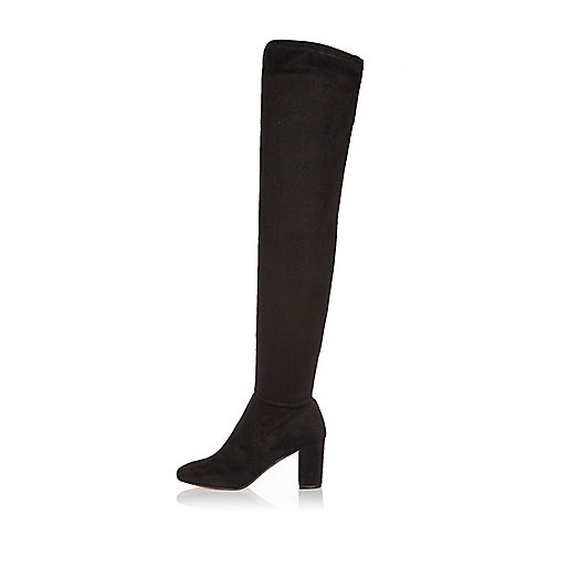 Black over the knee block heeled boots
