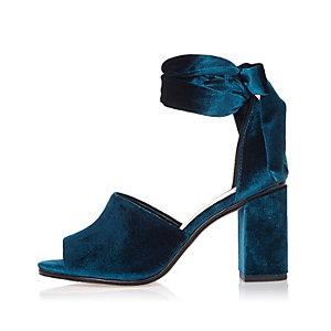 Blue velvet block heel sandals
