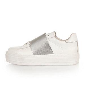 White metallic panel flatform sneakers