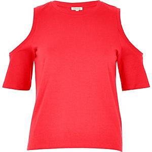 Bright pink cold shoulder top