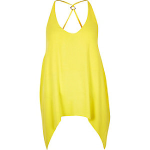 Yellow hanky hem cami top