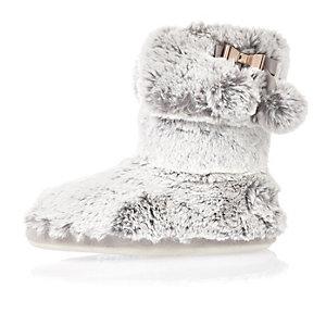 Grey bow faux fur slipper boots