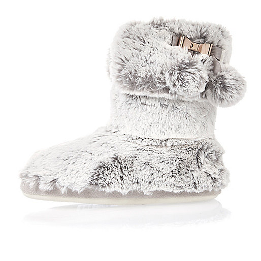 Grey bow faux fur slipper boots