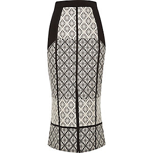 Black print pencil skirt