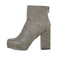 Grey nubuck platform boots