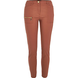 Rust zip skinny fit pants