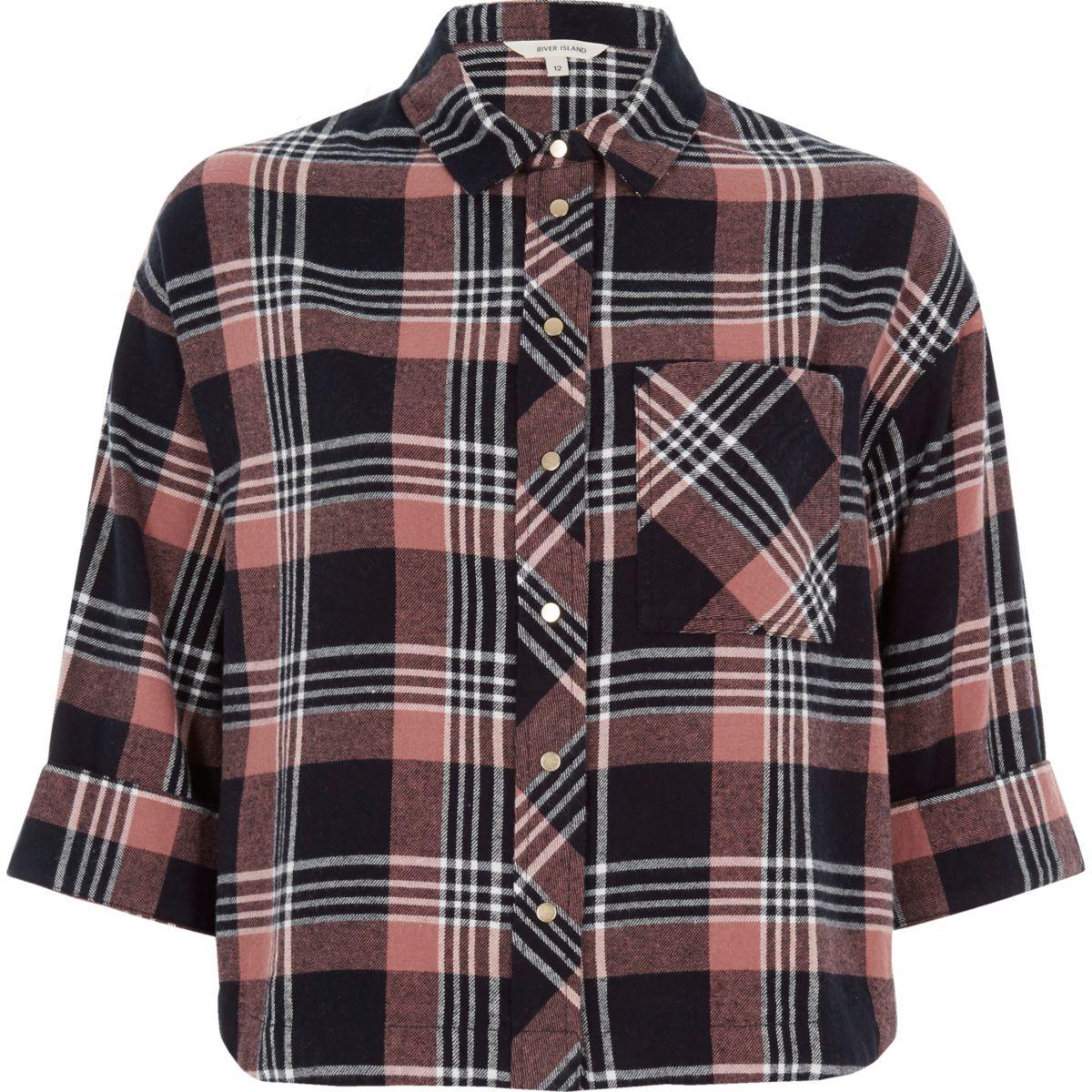 Pink check cropped shirt