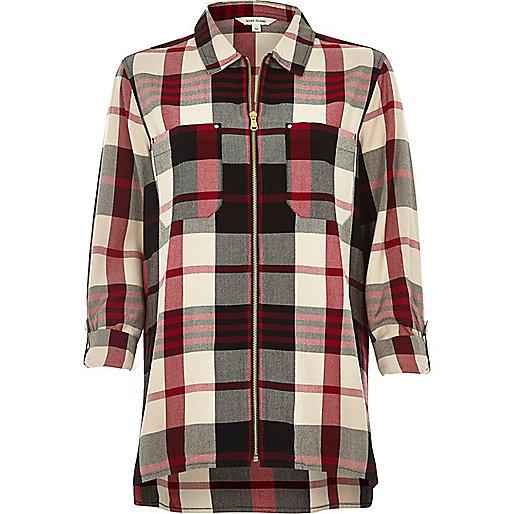 Red check zip shirt