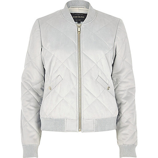 Grey quilted jacket womens