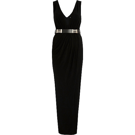 Black belted plunge maxi dress