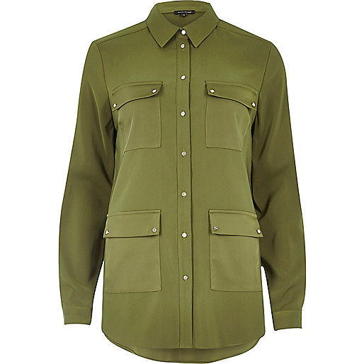 Khaki four pocket satin shirt