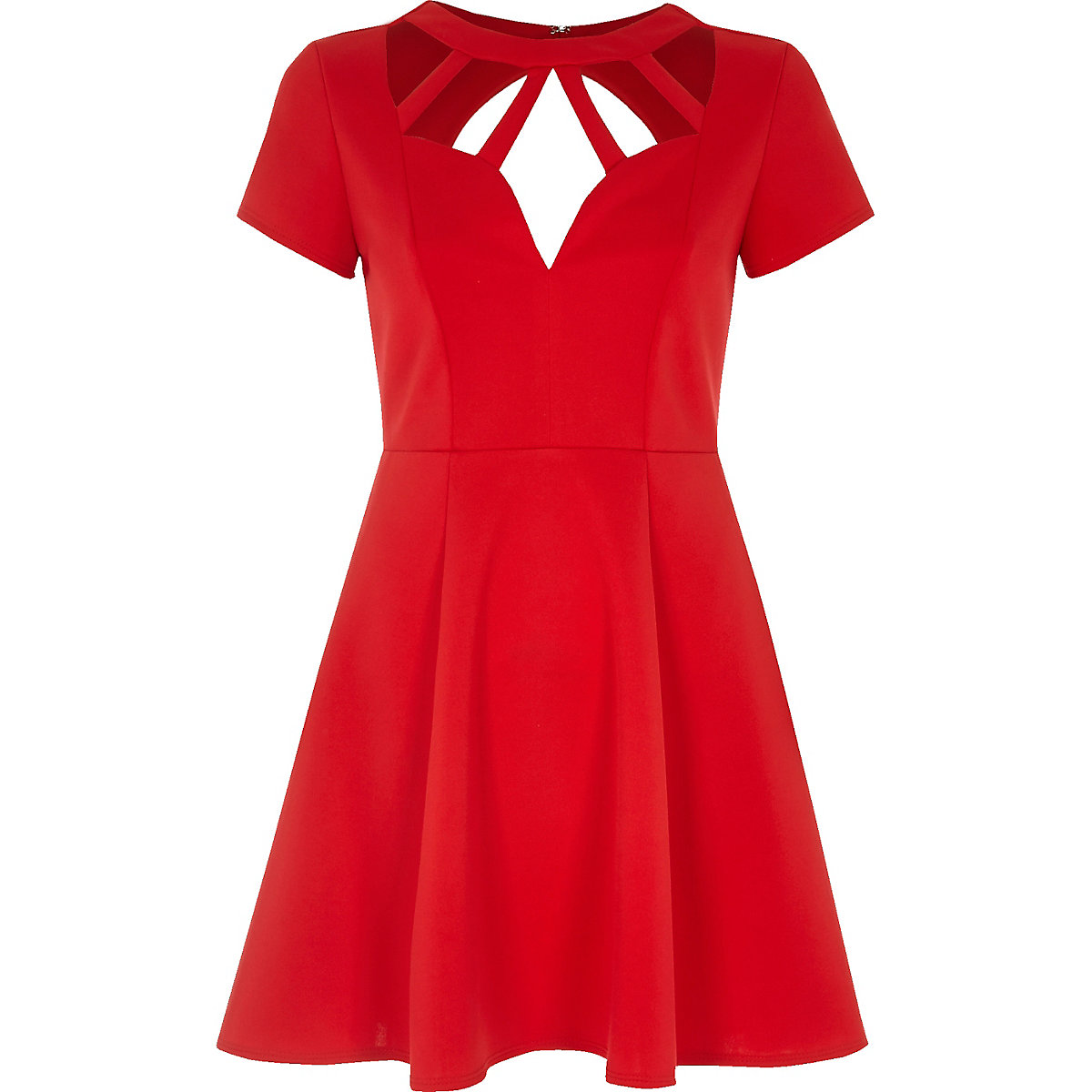 Red caged neck skater dress