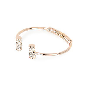 Rose gold tone diamanté cuff