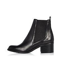 Schwarze Chelsea-Stiefel aus Leder mit Blockabsatz