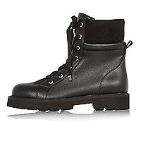 Black chunky utility boots