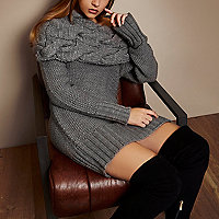 RI Studio grey chunky cable knit tunic